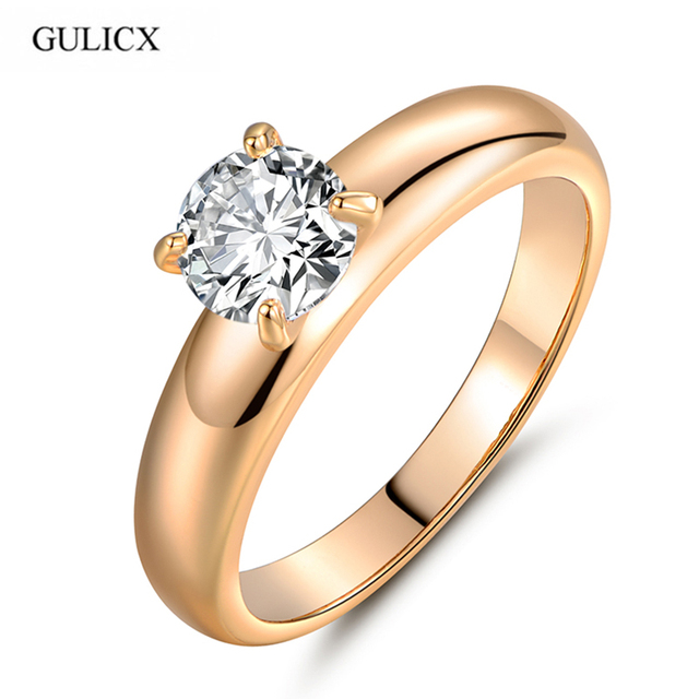 GULICX Fashion Statements Rings for Women Gold-color Round White Austrian Crystal Rings Zircon CZ Band Engagement Ring R083