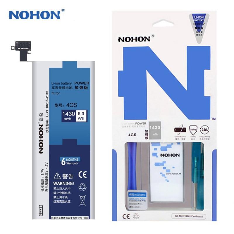 NOHON аккумулятор Батареи Для Apple iPhone 4S 4GS Bateria Литий-полимерный аккумуляторы батареи Ремонт Станков Подарков Высокое Качество Batteria 1430 мАч Реальная Емкость Batarya Batterij