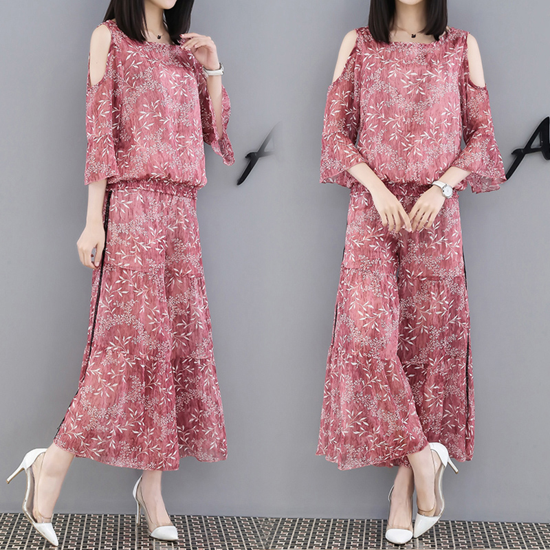 New summer suits women fashion big printed chiffon high waist wide legged pants floral print blouse loose two piece outfit
