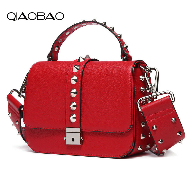 QIAOBAO New ladies leather rivet bag Europe and the United States first layer leather bag Messenger bag wide shoulder strap bag new europe and the united states fashion oil wax head layer of leather portable retro shoulder bag heart shaped color embossed h
