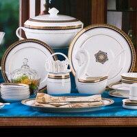 Jingdezhen ceramiczne naczynia stołowe naczynia z porcelany kostnej miska miska zestaw 58 porcelany czaszki zestaw wysokiej stopy bowl