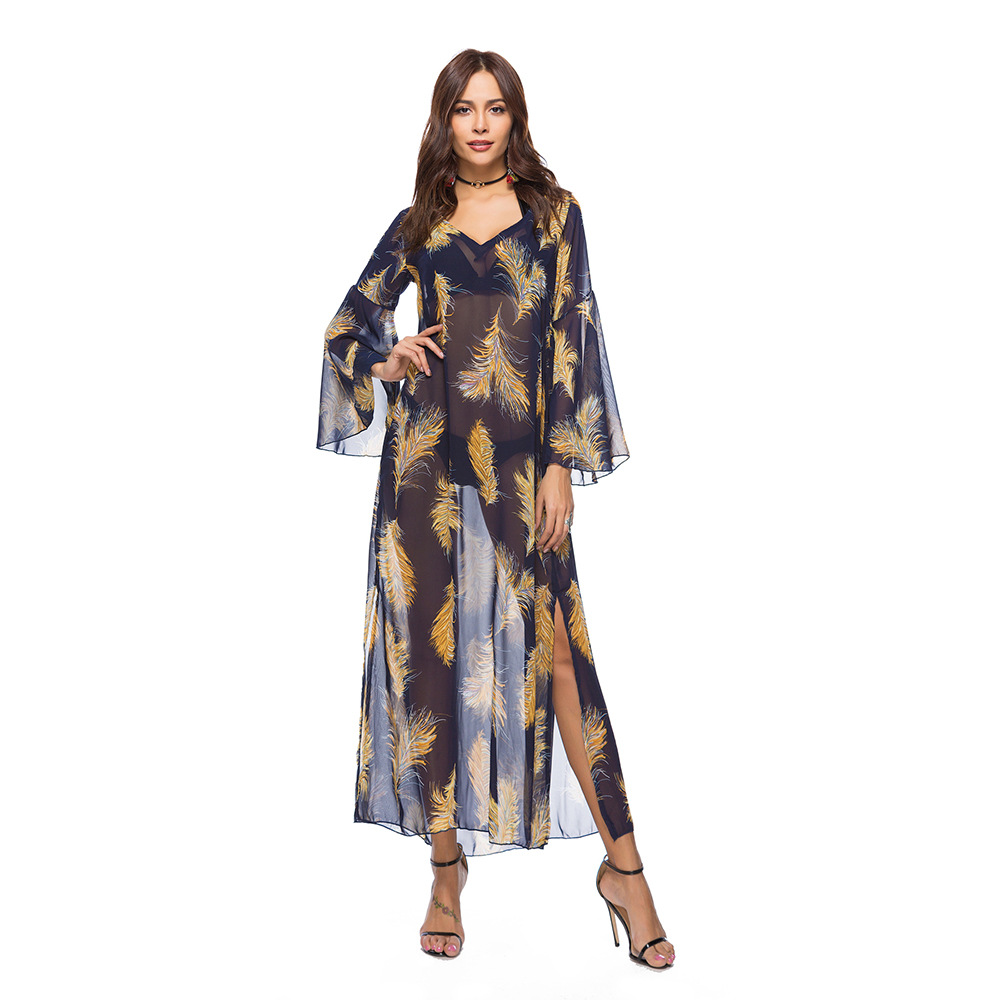 Mesh Print Long Dress V Neck Loose Casual Beach Bohemian Summer Clother Robe Longue Femme 2018 Women Dresses WS6399U
