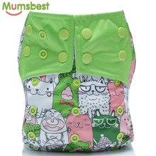 [Mumsbest] 1 шт. Многоразовые детские тканевые подгузники, моющиеся подгузники с рисунком кошки, зеленые подгузники, водонепроницаемые подгузники с карманами, костюм для детей от 3 до 15 кг