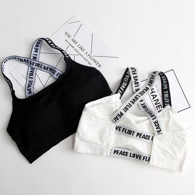 Black White Letters Shockproof Strappy Yoga Bra