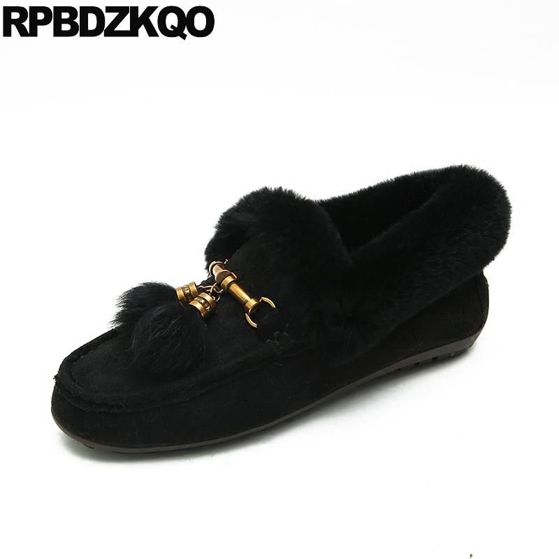 Winter Ladies Beautiful Flats Shoes Black Metal China Fur Large Size 43 Footwear Comfortable Big Square Toe 10 Slip On Suede comfy fitness ladies beautiful flats shoes spring autumn women size 34 korean china black slip on sneakers casual footwear