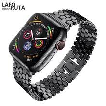 Купить с кэшбэком Laforuta Stainless Steel Strap for Apple Watch Band 42mm 38mm Series 4 iWatch Bracelet Strap 40mm 44mm Women Men Watchband Link
