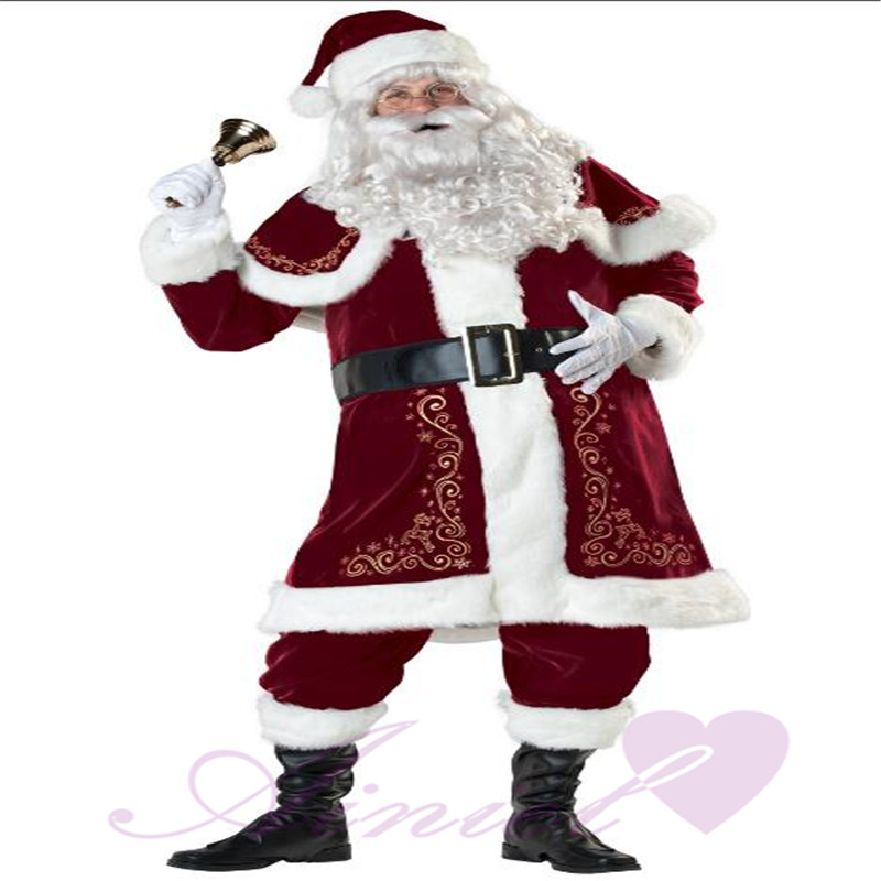 Full set  Adult Santa Claus Father Christmas Costumes Red Christmas Clothes Santa  Suit Xmas Gift Luxury Suit