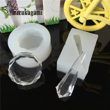 1pcs UV Resin Liquid Silicone Mold Transparent Diamond Cut Surface Pendant For Real Flower DIY Jewelry