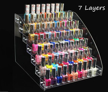 7 Layers detachable Acrylic Nail Polish Rack Makeup Cosmetic Display Shelf Organizer Lipstick Jewelry Displays Stand Holder rack 7 tiers clear makeup cosmetic acrylic organizer lipstick jewelry display stand holder nail polish rack 31x31x25cm