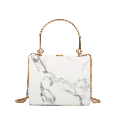New Style Womens Handbags Special Metal Handle Chains Marbles Box Black White Shoulder BagsNew Style Womens Handbags Special Metal Handle Chains Marbles Box Black White Shoulder Bags
