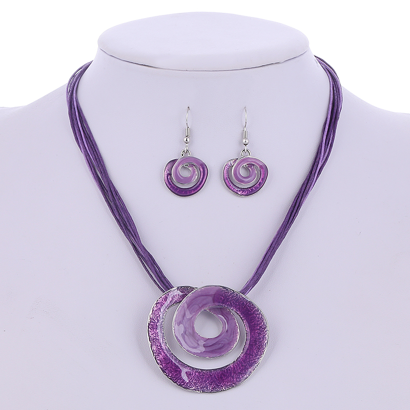2020 Summer Jewelry Sets Colorful Multilayer Leather Chain Gen Circles Pendant Necklaces Drop Earring Wedding Bridal Jewelry Set