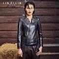 2017 Women's Leather Jacket Embroidery Sheepskin Coat Short Slim Jacket