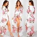 2017 mujeres del resorte dress floral imprimir maxi dress v cuello de la alta cintura tie sexy dress bohemia long beach split dress