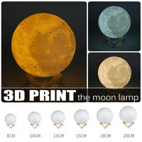 3D Print Moon Night Light Dimmable LED Night Lights 8cm 20cm Rechargeable Moon Lamp 3 Color