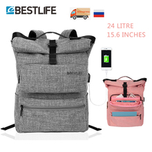 "Купить с кэшбэком BESTLIFE External USB Charge Backpack For Women Men 15.6"" Waterproof Laptop Backpacks Casual Teen School Travel Mochila Escolar"