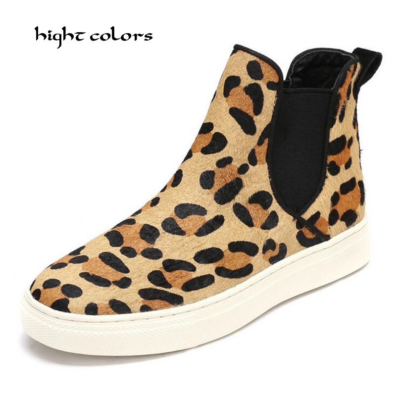 2017 Spring/Autumn Women Comfortable Slip On Wedge Ankle Boots Platform Heels Fashion Leopard Horsehair Ladies Short Shoes 8808 coolcept female bowtie restore ancient ways slip on platform mid heels women s fashion style casual spring autumn lolita shoes