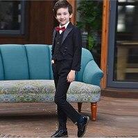 2018 Wedding Suits For Boys Children's England Style Tuxedo Suits Boys Clothes 5pcs/set