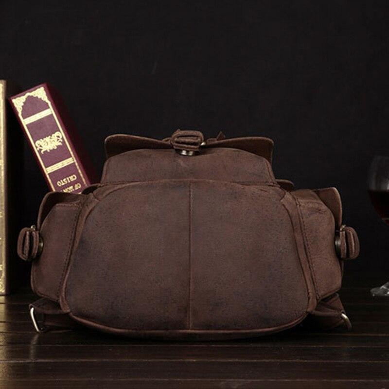 Vintage Daypack Crazy Horse peau de vache unisexe sac à dos école cartable voyage grande capacité en cuir véritable livre sacs à dos nouveau - 4