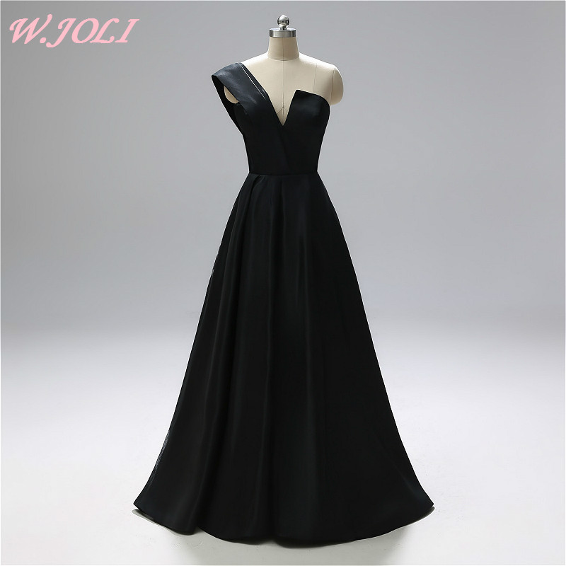 W.JOLI 2019   Evening     Dress   Long Elegant One-Shoulder Satin Prom Gown Simple Black Sleeveless Wedding Party   Evening     Dresses