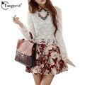 Tangnest mulheres dress 2017 primavera outono elegante moda bordados lace flor imprimir manga comprida a-line dress vestido wql2800
