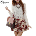 Tangnest women dress 2017 del otoño del resorte de moda elegante bordado de encaje estampado de flores de manga larga a-line dress vestido wql2800