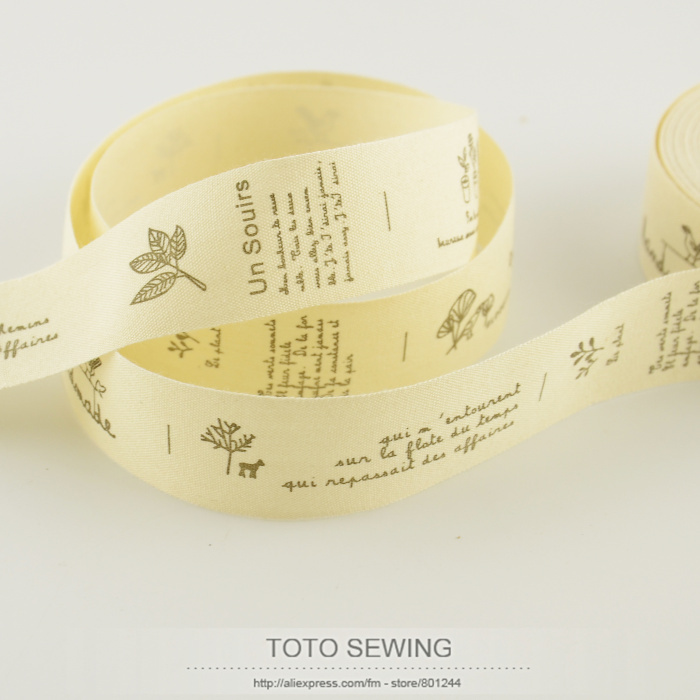 2.5CM mini.order is $5 (mix order) TOTO SEWING accessory flower plant label Zakka cotton ribbons width sawing tape free shipping