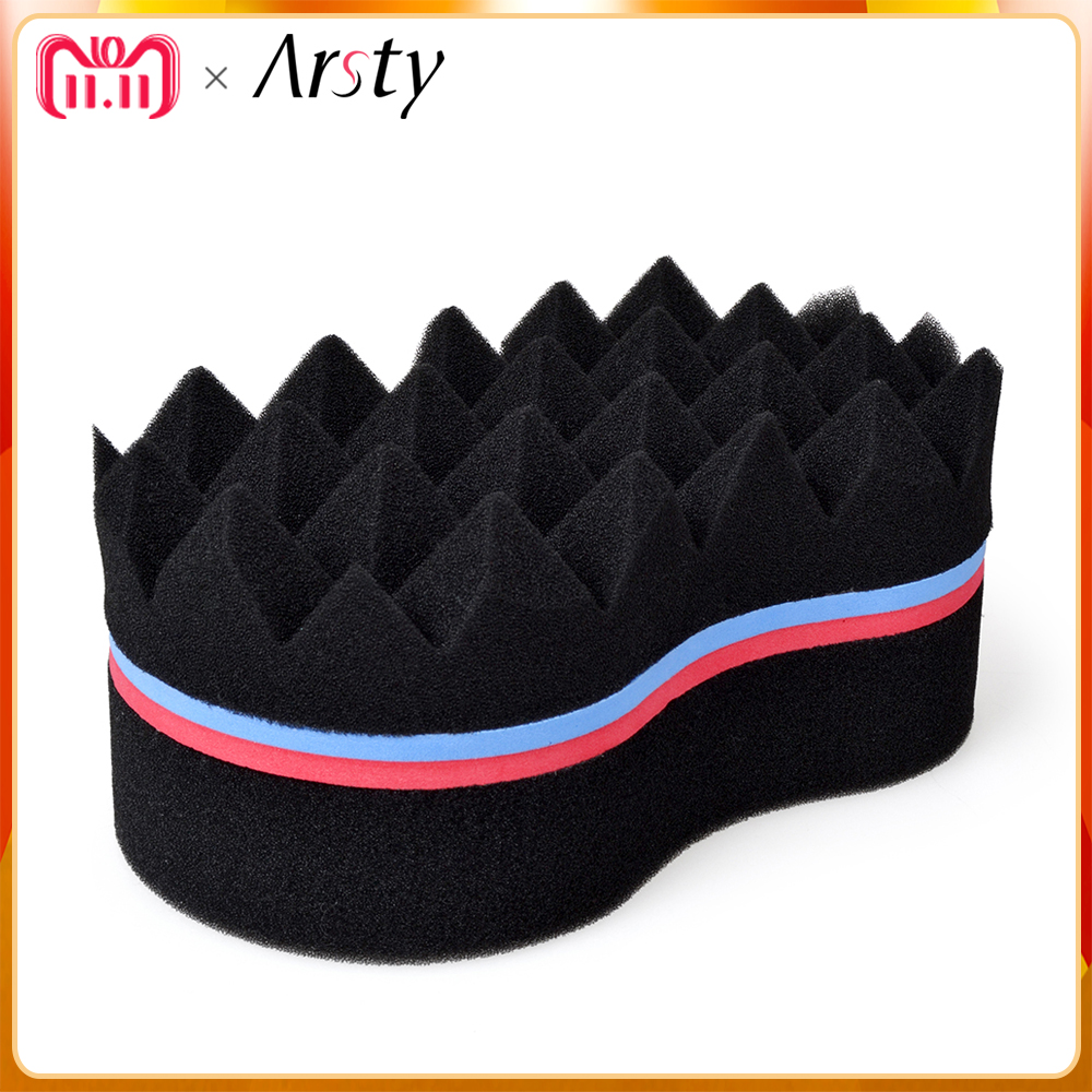 ARSTY Double Sides Magic Twist Hair Sponge Brush,adds texture to hair styling tools hair wave coil hair coil curler afro braid coil hair tie 6pcs