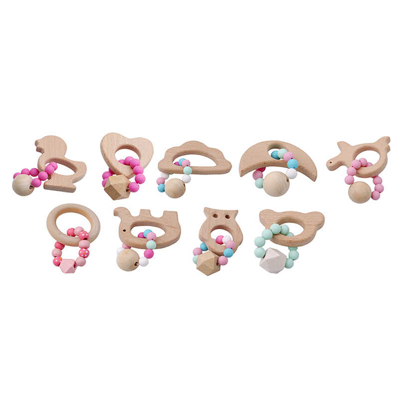 New Baby Bracelet Animal Shaped Jewelry Teething For Baby Organic Wooden Silicone Beads Baby Rattle Baby Feeding Products