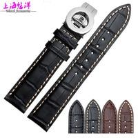 Leather Watchband alternative Baoge calfskin leather watch straps butterfly 20 21mm