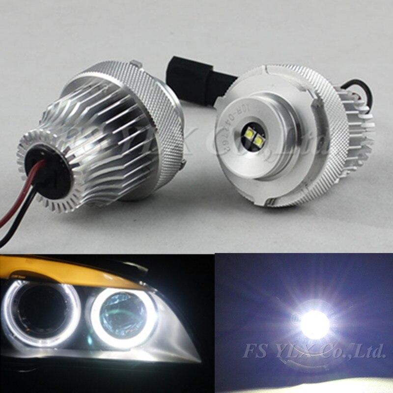 ФОТО 40W high power led angel eyes bulb led marker for BMW E60 E61 LCI 2007-2010 car high brightness xenon white angel eyes for bmw