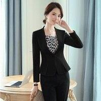 Fashion Formal Ladies Black Blazers Women Work Wear Jackets Long Sleeve Office Uniform Designs OL Styles