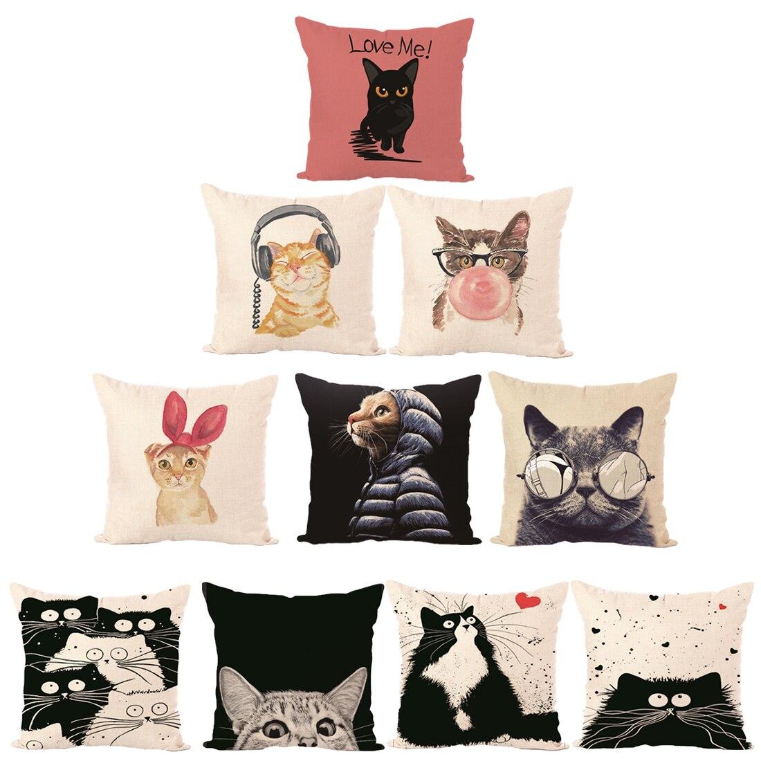 Cute Lovely Cat Decorative Cushion Cover Cotton Linen Square Throw Pillow Cover 45x45CM Pillow Case Home Office Car Sofa Decor