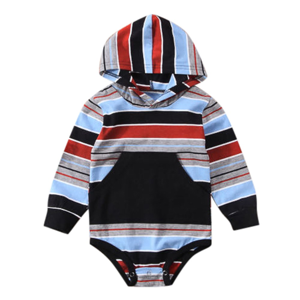 New Arrival Infant Baby Girls Boys Long Sleeve Stripe Hooded Romper Jumpsuit Clothes Outfits Outfits Clothes Set