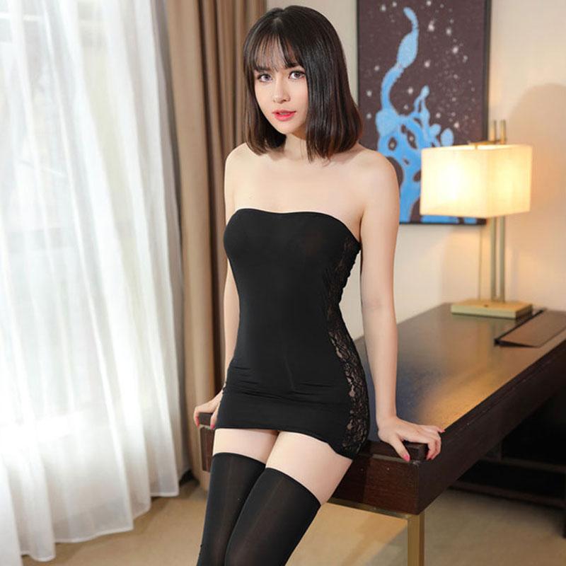 Sexy Women Lace Hollow Tight Pencil Cute Dress Ice Silk -3127