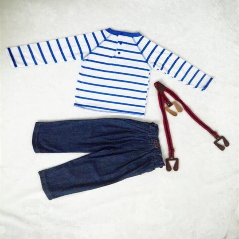 pasgeboren baby boy kleding sets katoen Gestreepte t-shirt + denim - Kinderkleding - Foto 4