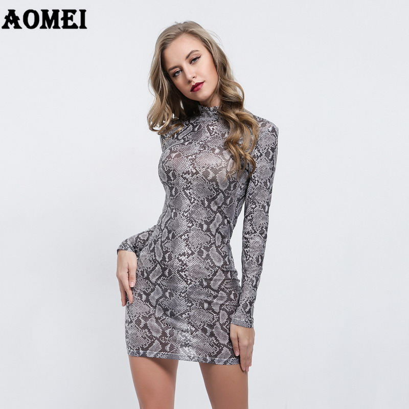 Women Mini Slim Dress Sexy Long Sleeves Snake Skin Printed Ladies Fashion  Tight Dresses Sheath Robes Spring Package Hip Clothing-in Dresses from  Women s ... 655fca3aeca7