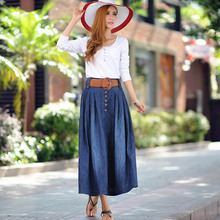 Women casual wide flare skirt Lady's large size ankle length long denim skirt with belt Sexy girl Casual wear denim skirt