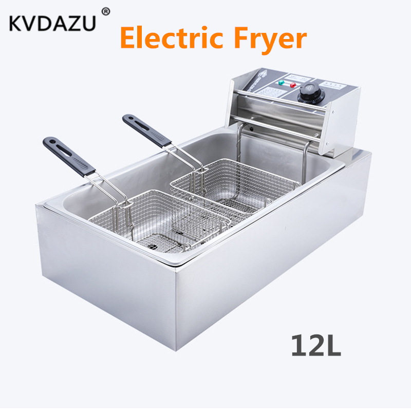 Commercial 2 Sieves Big Tanks Electric Deep Fryer French Fries Machine Oven Pot Food Frying Machine Fried Chicken Row Cooker