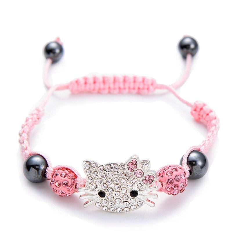 Kids Bracelet Children's Bracelet Connecte Handmade Cute Silver Cat Bracelet for Girls Boys Crystal Beads Braid Charm Bracelets