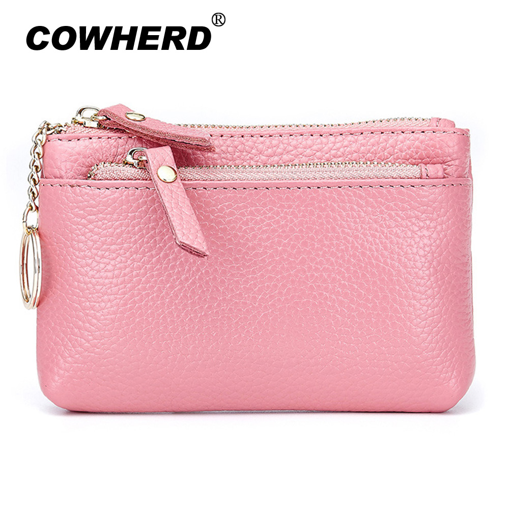 409eeed9f2fd Coin Purse Genuine Cow Leather Women Wallets Candy Color Female Card Key  Holder Double Zipper Small Bags