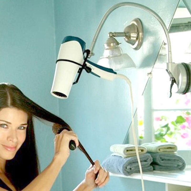 Kitchen Wall Mount Alloy Hair Dryer Holders Storage Organizer Bathroom Tool