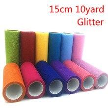 15cm 10Yard Shiny Gold Powder Tulle Rolls Organza Fabric Roll DIY Artificial Flower Tutu Skrit Wedding Party Decoration 25 Color
