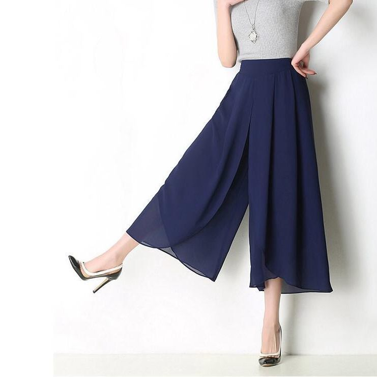 #2804 Summer High Waist Chiffon   Wide     Leg     Pants   Women Loose Plus Size 5XL Solid Color Thin Asymmetrical See Through Skirt   Pants