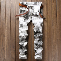 Male Unique Cotton stretch jeans Man's Casual Character Pattern biker jeans New Brand 3D White Printed Men's Jeans Fashion Pants