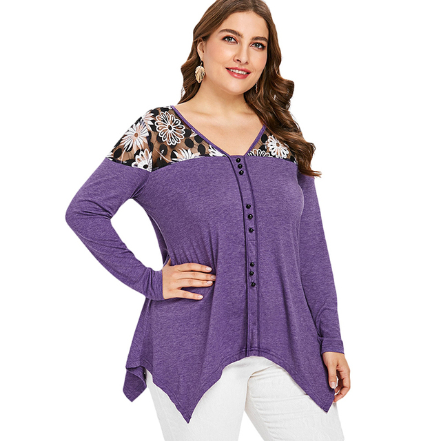 PlusMiss Plus Size Floral Sexy Mesh Tunic Tops 5XL Women Autumn 2018 Big Size Vintage Long Sleeve Blouse Ladies XXXXL XXXL XXL  1