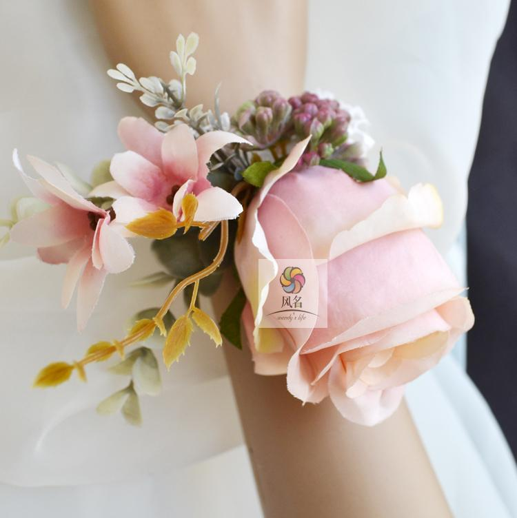 Baby pink artificial rose wedding best man groom boutonniere bridal baby pink artificial rose wedding best man groom boutonniere bridal girl wrist hand corsage flower diy party prom pin brooch in artificial dried flowers mightylinksfo