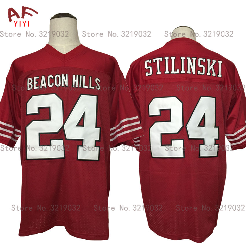 AIFEIYIYI Throwback American Football Jersey Stilinski 24 TEEN WOLF TV Series Beacon Hills Lacrosse Jersey Maroon Stitched Shirt mens bruno mars jersey 24 24k hooligans pinstriped bet awards throwback baseball jersey man uniforms stitched button down shirt
