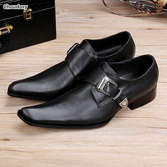 Trendy Buckle Oxford Shoes For Men Genuine Leather Shoes Men Wedding  Zapatos Black Square Toe Men Dress Shoes Sapato Social d25a58e223dc