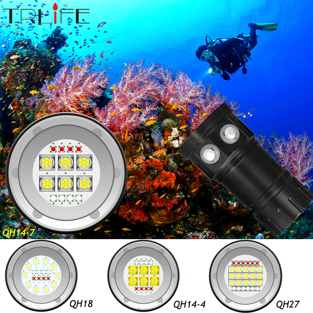 Diving Flashlight Ultra Bright Scuba Waterproof Underwater QH18 QH27 80M LED Dive Torch Light Photography White Blue Red Lamp