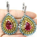 Long Big Drop 18x13mm Pink Tourmaline, Golden Citrine, Peridot, Aquamarine Created SheCrown  Silver Earrings 67x36mm